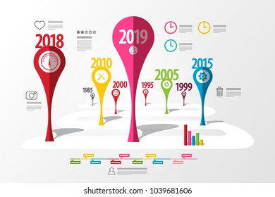 Colorful Vector Timeline Laout. Infographic Template with Years. Business Creative Technology Roadmap.