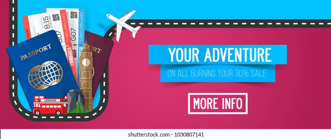 Colorful vector travel composition with passport and tickets, tourism banner for road trip, journey, adventure time.