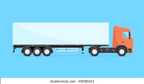Colorful vector truck illustration. Heavy truck with semitrailer isolated icon