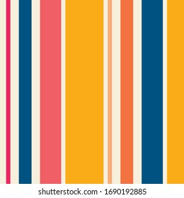 Colorful vector vertical stripes pattern. Simple seamless texture with thin and thick straight lines. Stylish abstract geometric striped background in bright colors, yellow, pink, orange, peach, blue