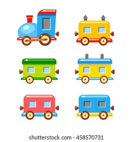 Colorful vector wagons for a train. Bright cartoon illustration. Cute child transport.