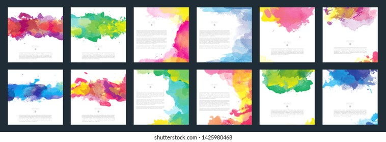 Colorful vector watercolor background template set for brochure, poster or flyer