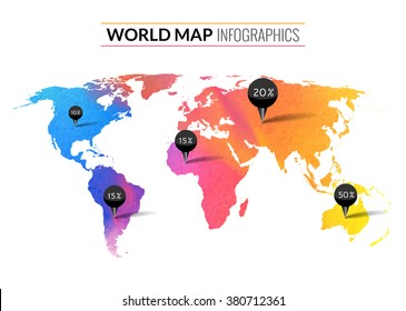 Colorful vector watercolor world map infographics. World map wallpaper atlas. Travel earth