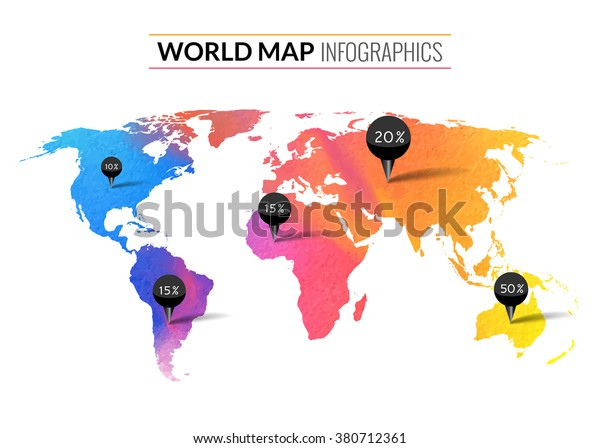 Colorful Vector Watercolor World Map Infographics Stock Vector