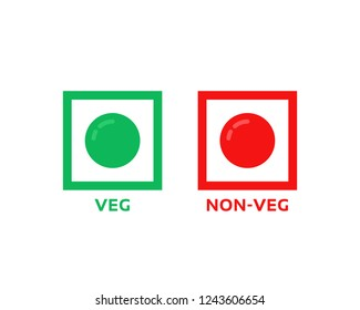colorful veg and non-veg symbol. flat cartoon style trend modern minimal foodie logotype graphic art color design isolated on white background