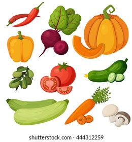 colorful fruits vegetables icons set template stock vector royalty