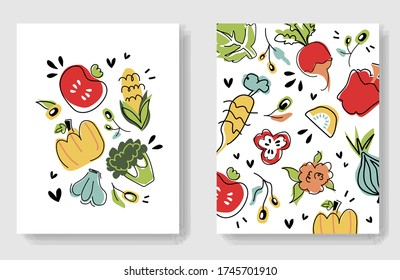 Colorful veggies cards. Vector artistic doodle hand-drawing vegan posters. Bundle of cute vector illustrations isolated on white background. Healthy diet banner template for farming market fair