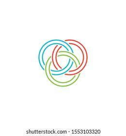 Colorful Venn Diagram in Line Stye, Supply chain and Procurement advisory, data solutions Logo Vector Design