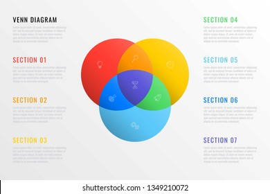 colorful venn diagram with thin line marketing icons and text boxes on white background. modern business infographic template. vector illustration easy to edit and customize. eps 10