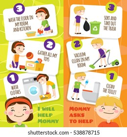 Colorful vertical banners set with smiling kids cleaning rooms and helping their mother around house cartoon isolated vector illustration