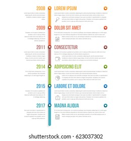 Colorful vertical timeline infographics template, workflow, process diagram, vector eps10 illustration