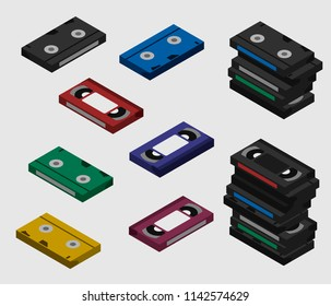 Colorful VHS video tape cassette isometric; Pile of VHS shown from different sides flat design