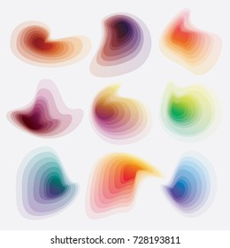 Colorful vibrant abstract gradient blobs collection