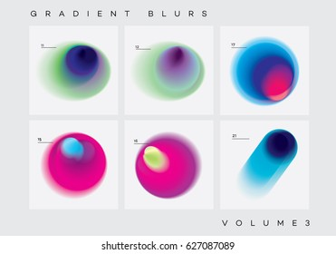 Colorful vibrant abstract gradient blurs collection