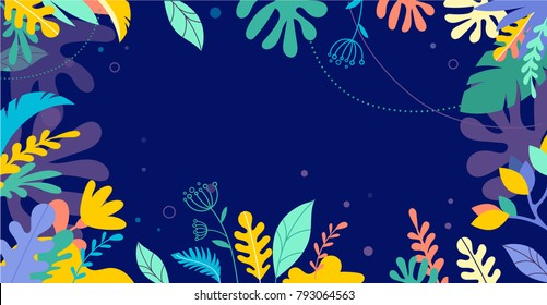 Colorful, vibrant colors palm leaves background. Tropical illustration, Jungle foliage with copy space