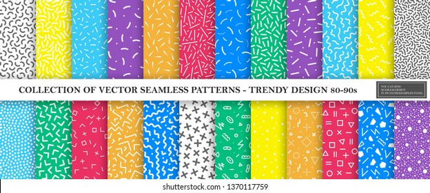 Colorful vibrant vector collection of memphis seamless patterns. Fashion design 80-90s. Bright stylish textures. You can find repeatable backgrounds in swatches panel.