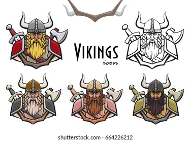 Colorful viking icon. Warrior in helmet and armor. Vector illustration