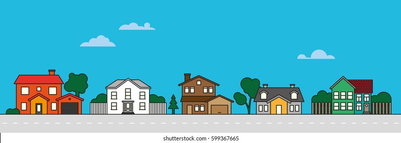 Colorful village neighborhood vector illustration. Residential buildings on suburban street.