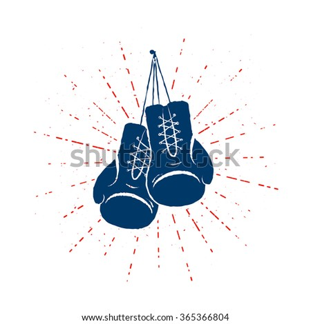 colorful vintage boxing gloves hanging nailed stock vector royalty