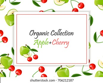 Colorful vintage Cherry and apple label poster. Vector square label, cherry and apple jam, sauce or juice label on a seamless pattern background with soft shadow