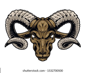 Colorful vintage cruel ram head with big horns on white background isolated vector illustration