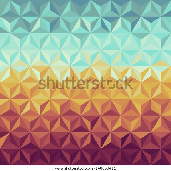 Colorful vintage hipsters triangle seamless pattern illustration. Vector file layered for easy manipulation and custom coloring.