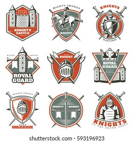 Colorful vintage historical medieval labels set with armored knights crossed weapons fortress and tower isolated vector illustration
