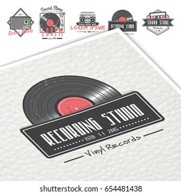 Colorful vintage labels. Invitation retro music. Logo Music Store, Hipster Style. Detailed elements. Old retro vintage grunge. Typographic labels, stickers, logos and badges.