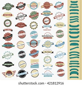 Colorful Vintage Labels and Ribbons Collection