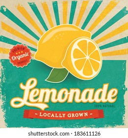 Colorful vintage Lemonade label poster vector illustration