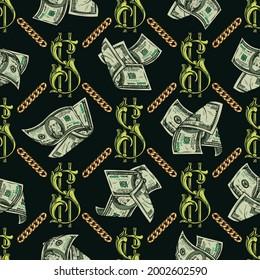 Farbiges Vintage-Geld nahtloses Muster mit Goldketten-Dollarnoten und eleganten Zeichen auf dunklem Hintergrund, Vektorgrafik