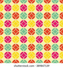 Colorful vintage pattern, Seamless vector background inspired by retro style and 60's textile design