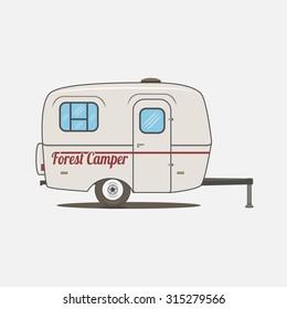 Colorful vintage Rv Car. Retro recreational Vehicle Camper Van.  Isolated Caravan mobile Home for Travel Design