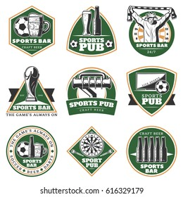 Colorful vintage sport pub emblems set with beer darts tv fan trophy and balls isolated vector illustration