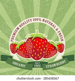 Colorful vintage Strawberry label