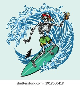 Colorful vintage surfing concept with skeleton in baseball cap and shorts holding cocktail and riding wave isolated vector illustration