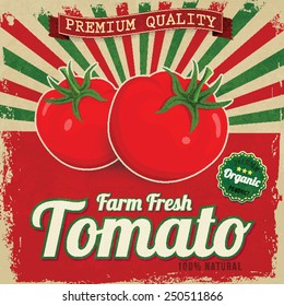 Colorful vintage Tomato label poster vector illustration