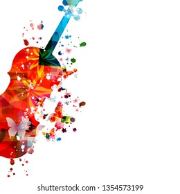 Colorful violoncello with butterflies isolated vector illustration design. Music background. Music instrument poster with butterflies, music festival poster, live concert events, party flyer