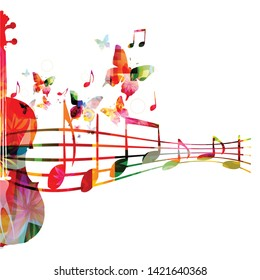 Colorful violoncello with music notes isolated vector illustration design. Music background. Cello poster with music notes, festival poster, live concert events, party flyer
