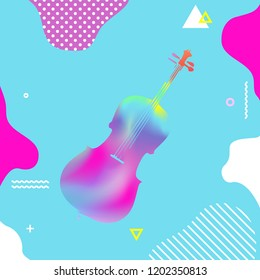 Colorful violoncello vector illustration design. Abstract musical instrument background, artistic poster with cello