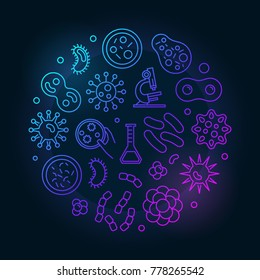Colorful viruses vector round concept illustration made with virus and bacteria outline icons on dark background