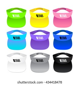 colorful visor on white background. set of sport theme colour
