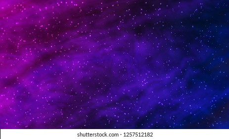 Colorful vivid background. Night starry sky. Northern lights. Nebula full of stars. Outer space. Vector, eps 10.