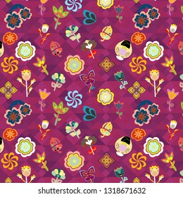 colorful vivid floral pattern over purple geometric texture of triangles for festive and cheerful surface design templates, wallpaper, backdrops, textile and fabric.