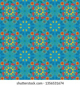 colorful vivid floral symmetrical pattern in oriental style for textile, fabric, wallpaper, backgrounds, backdrops and cheerful surface design templates, print &digital. pattern swatch at eps. file