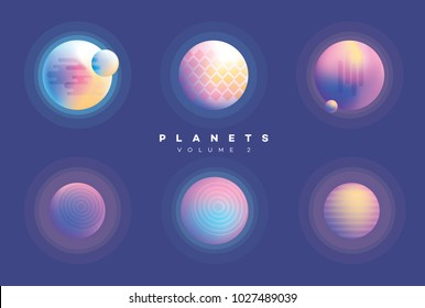 Colorful vivid futuristic abstract planets collection in gradient colors