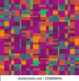 colorful vivid modern abstract background and pattern of overlapping squares in bright green, purple and orange for backgrounds, posters, stationery design, textile, fabric, wallpaper & backdrops