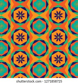 colorful vivid modern geometric and floral repeating hexagon pattern with elegant design for textile, fabric, wallpaper, backgrounds, backdrop and surface design templates. pattern swatch at eps. file