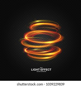 Colorful vortex with luminous swirling spirals. Glowing orange - red abstraction with particles on dark transparent backdrop. Sparkling waves and swirl, neon light effect, shiny magic effects
