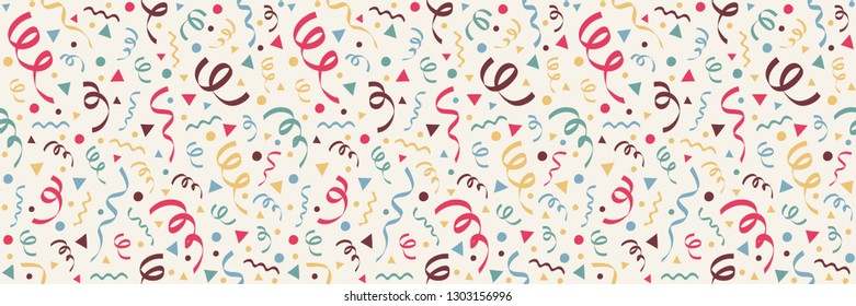 Colorful wallpaper with confetti for bithday, carnival and photobooth party. Vector